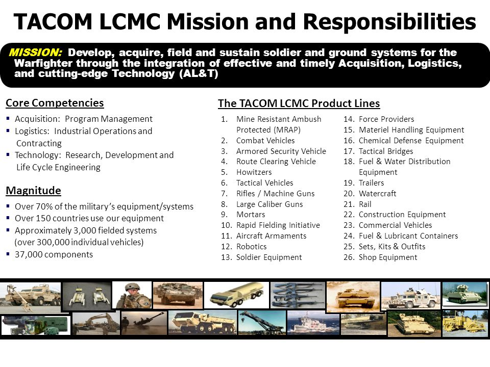  Acquisition: Program Management  Logistics: Industrial Operations and Contracting  Technology: Research, Development and Life Cycle Engineering  Over 70% of the military's equipment/systems  Over 150 countries use our equipment  Approximately 3,000 fielded systems (over 300,000 individual vehicles)  37,000 components 14.Force Providers 15.Materiel Handling Equipment 16.Chemical Defense Equipment 17.Tactical Bridges 18.Fuel & Water Distribution Equipment 19.Trailers 20.Watercraft 21.Rail 22.Construction Equipment 23.Commercial Vehicles 24.Fuel & Lubricant Containers 25.Sets, Kits & Outfits 26.Shop Equipment 1.Mine Resistant Ambush Protected (MRAP) 2.Combat Vehicles 3.Armored Security Vehicle 4.Route Clearing Vehicle 5.Howitzers 6.Tactical Vehicles 7.Rifles / Machine Guns 8.Large Caliber Guns 9.Mortars 10.Rapid Fielding Initiative 11.Aircraft Armaments 12.Robotics 13.Soldier Equipment The TACOM LCMC Product Lines Core Competencies Magnitude MISSION: Develop, acquire, field and sustain soldier and ground systems for the Warfighter through the integration of effective and timely Acquisition, Logistics, and cutting-edge Technology (AL&T) TACOM LCMC Mission and Responsibilities