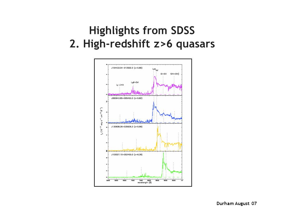 Durham August 07 Highlights from SDSS 2. High-redshift z>6 quasars