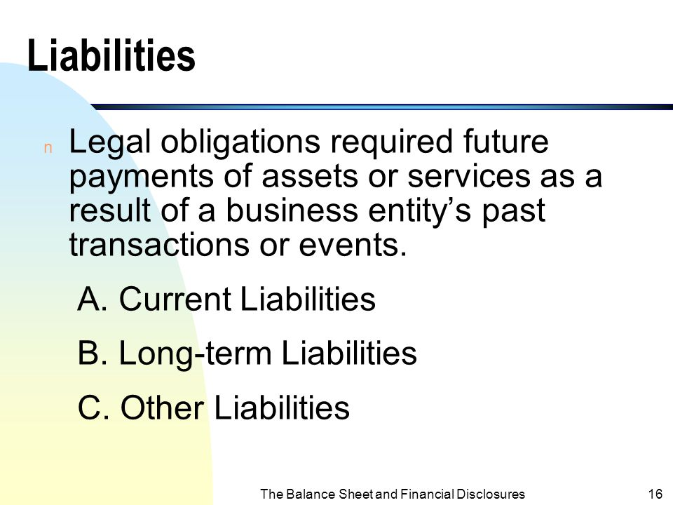 The Balance Sheet and Financial Disclosures15 Assets (contd.)  Other Assets: Include assets sufficiently different from assets in other categories. 