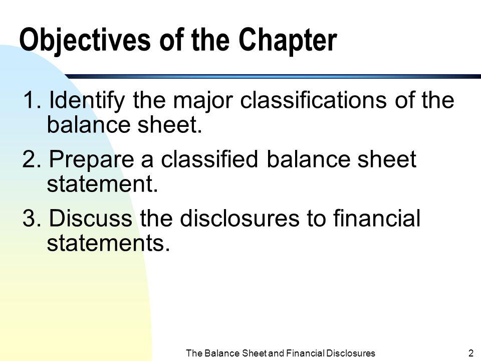 Intermediate Financial Accounting I Balance Sheet and Financial Disclosures