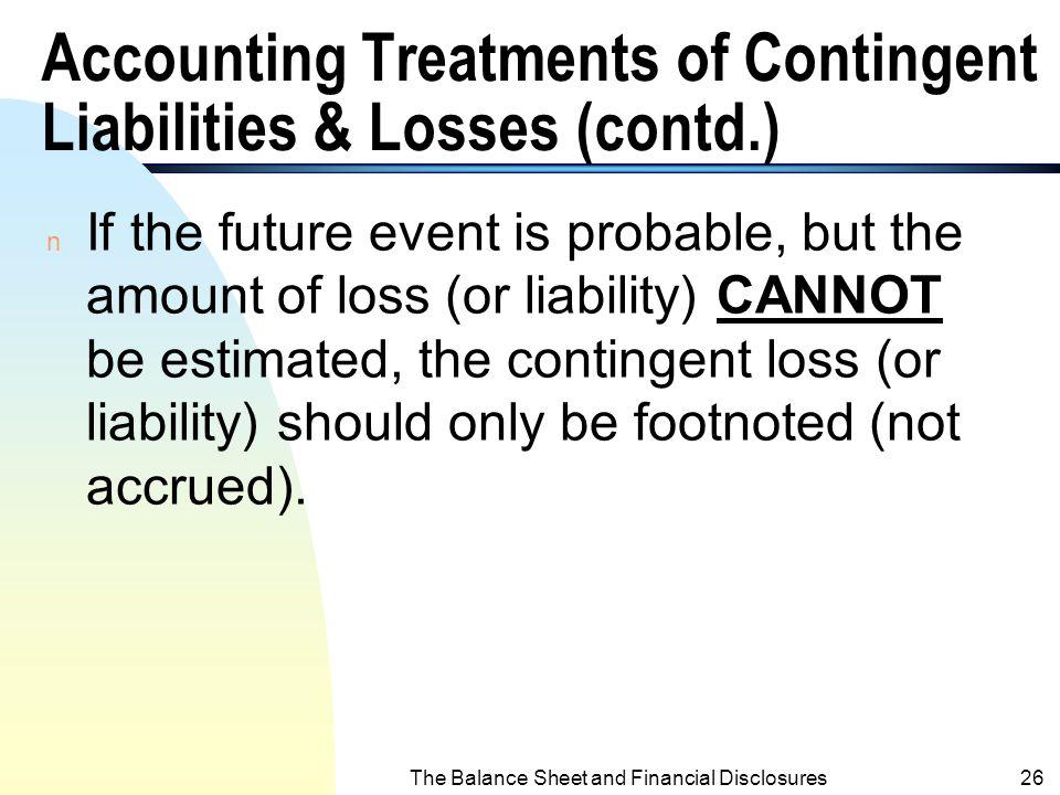 The Balance Sheet and Financial Disclosures25 Examples 1. B/D Exp.XXX Allowance for B/DXXX 2. Warranty Exp.XXX Estimated Warranty LiabilitiesXXX 3. La