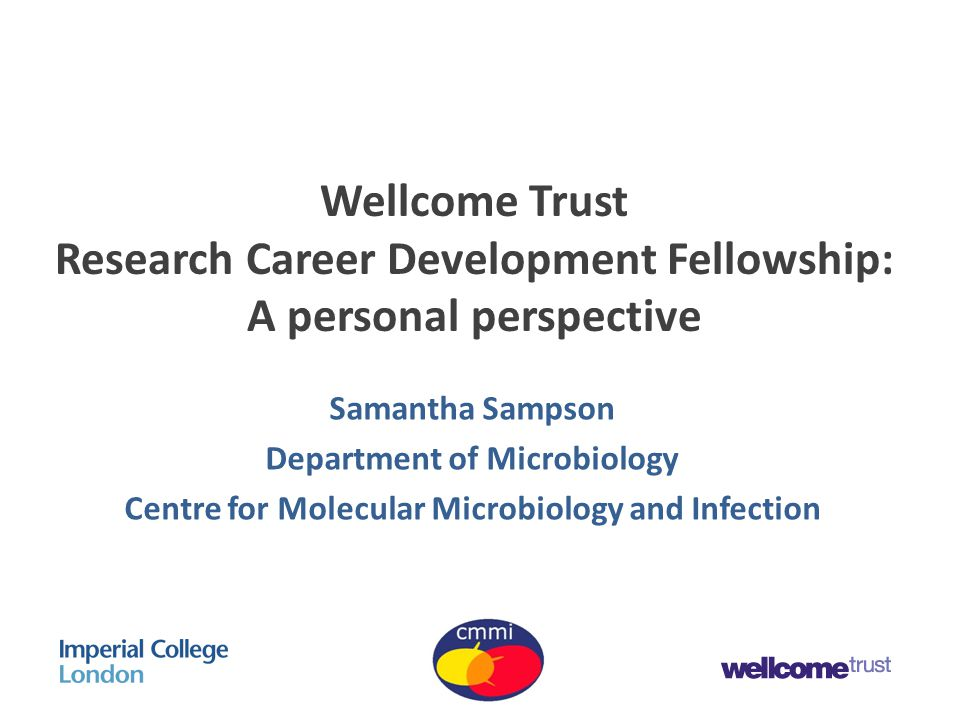 Wellcome Trust Research Career Development Fellowship: A personal perspective Samantha Sampson Department of Microbiology Centre for Molecular Microbiology and Infection