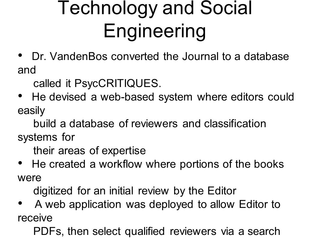 Technology and Social Engineering Dr.
