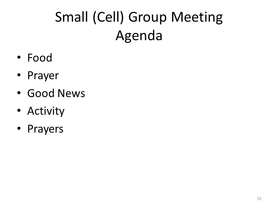 Small (Cell) Group Meeting Agenda Food Prayer Good News Activity Prayers 16