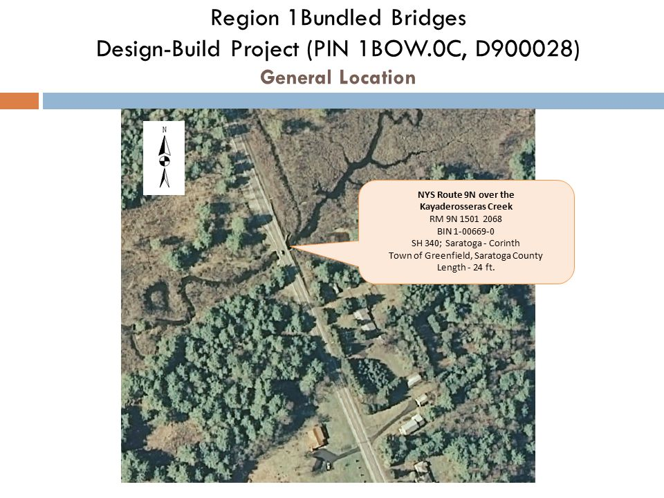 Region 1Bundled Bridges Design-Build Project (PIN 1BOW.0C, D900028) General Location NYS Route 9N over the Kayaderosseras Creek RM 9N 1501 2068 BIN 1-00669-0 SH 340; Saratoga - Corinth Town of Greenfield, Saratoga County Length - 24 ft.