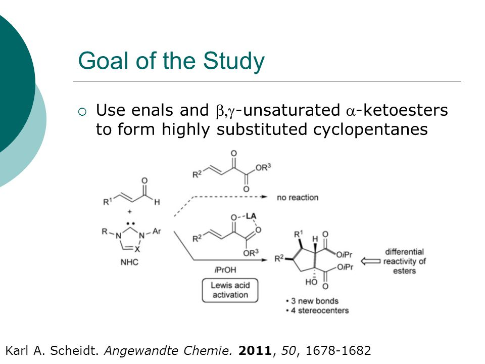 Goal of the Study  Use enals and -unsaturated -ketoesters to form highly substituted cyclopentanes Karl A.