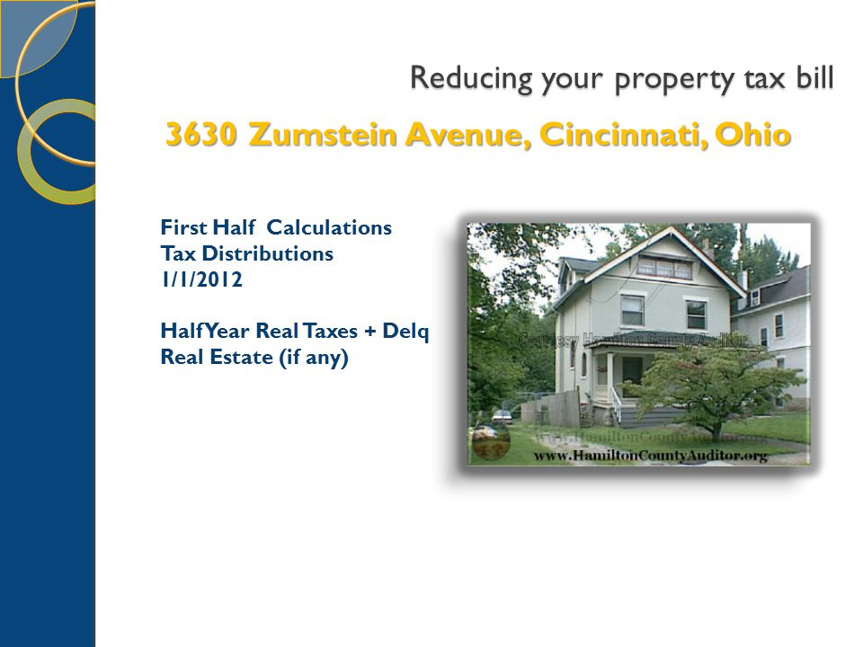Reducing your property tax bill 3630 Zumstein Avenue, Cincinnati, Ohio First Half Calculations Tax Distributions 1/1/2012 Half Year Real Taxes + Delq Real Estate (if any)