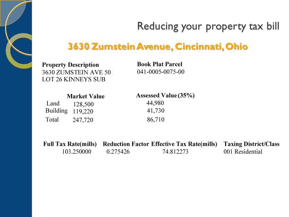 Reducing your property tax bill 3630 Zumstein Avenue, Cincinnati, Ohio