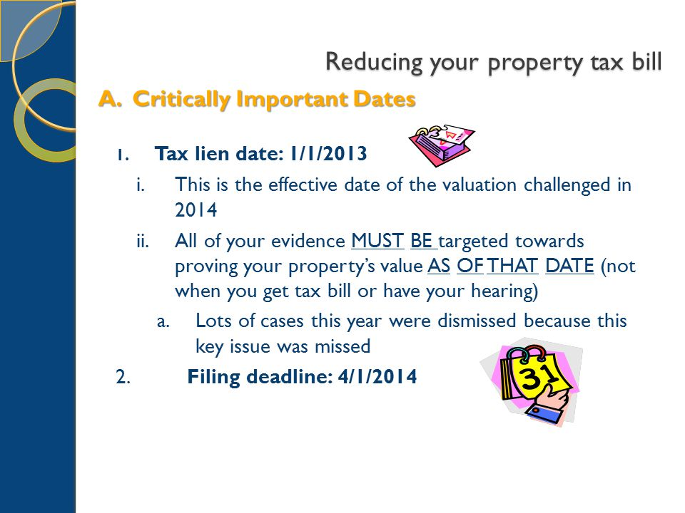 Reducing your property tax bill 1.