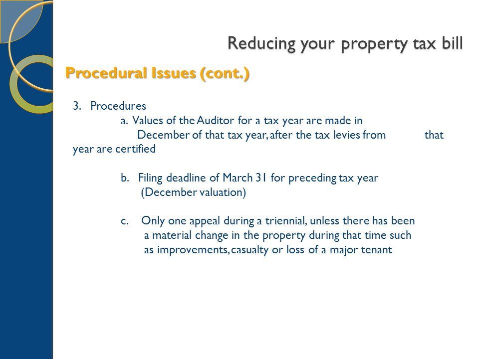 Reducing your property tax bill 3. Procedures a.