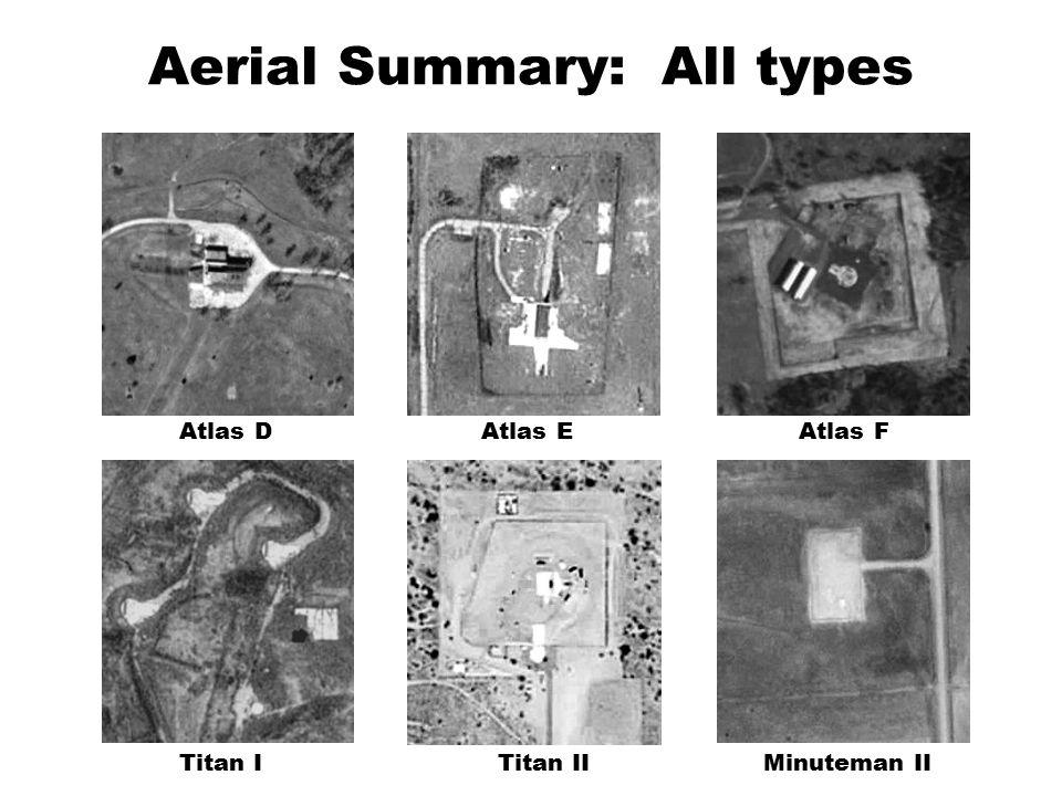 Aerial Summary: All types Minuteman IITitan IITitan I Atlas EAtlas FAtlas D