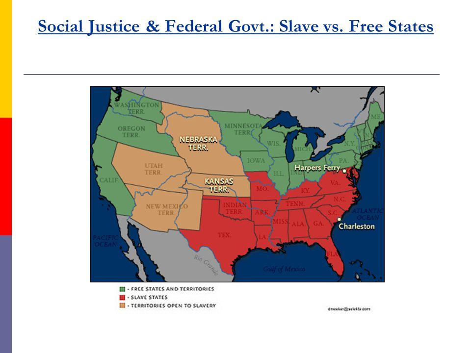 Social Justice & Federal Govt.: Slave vs. Free States