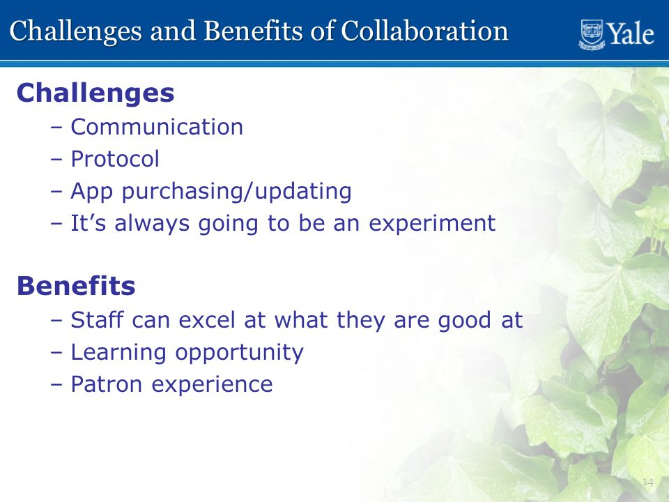 14 Challenges and Benefits of Collaboration Challenges – –Communication – –Protocol – –App purchasing/updating – –It's always going to be an experiment Benefits – –Staff can excel at what they are good at – –Learning opportunity – –Patron experience
