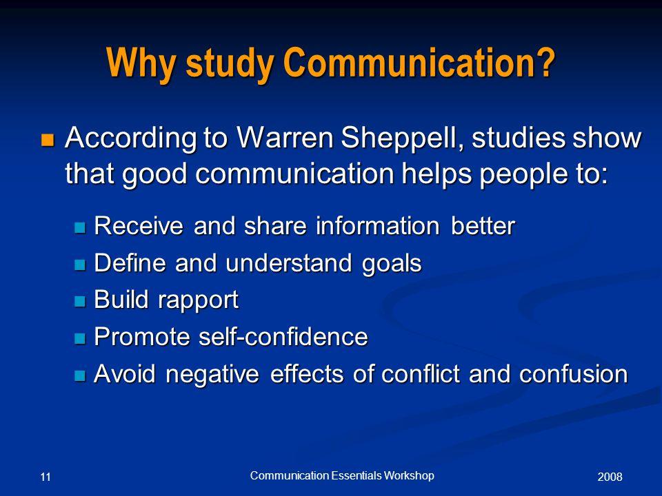 200811 Communication Essentials Workshop Why study Communication.