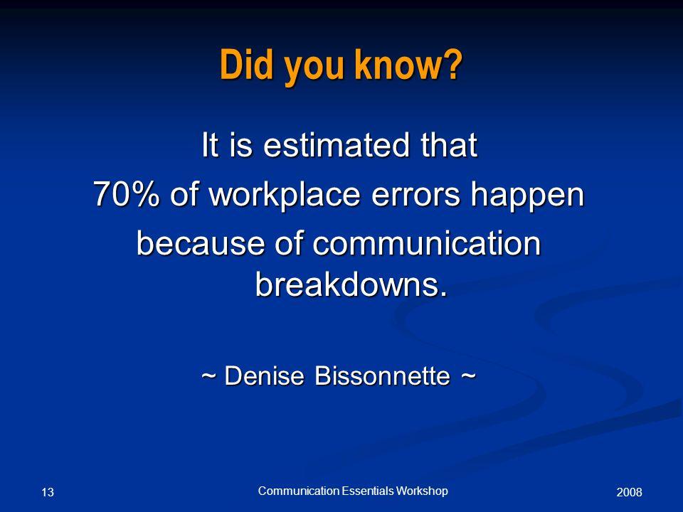 200813 Communication Essentials Workshop Did you know.