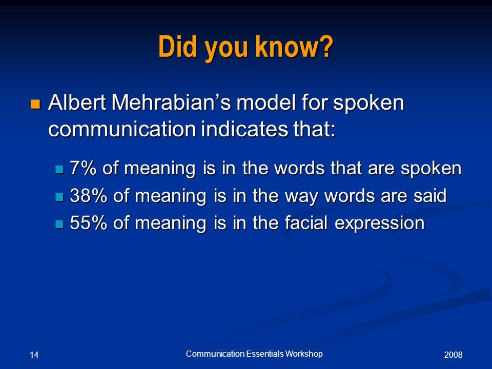 200814 Communication Essentials Workshop Did you know.