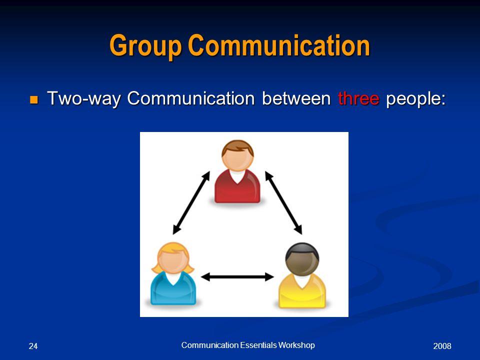 200824 Communication Essentials Workshop Group Communication Two-way Communication between three people: Two-way Communication between three people: