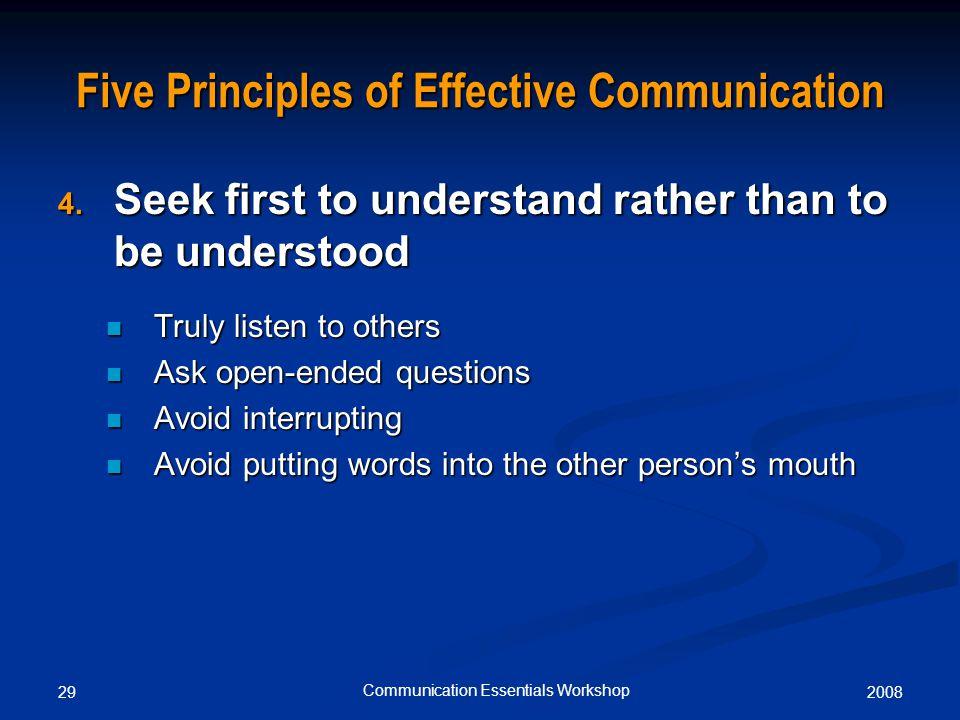 200829 Communication Essentials Workshop Five Principles of Effective Communication 4.