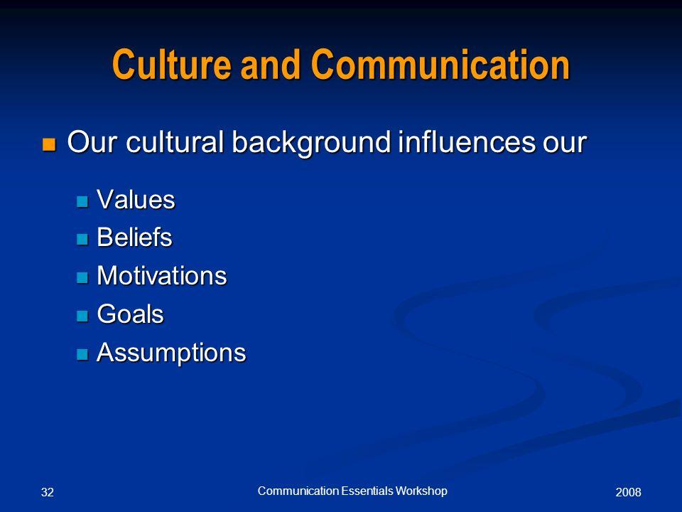 200832 Communication Essentials Workshop Culture and Communication Our cultural background influences our Our cultural background influences our Values Values Beliefs Beliefs Motivations Motivations Goals Goals Assumptions Assumptions