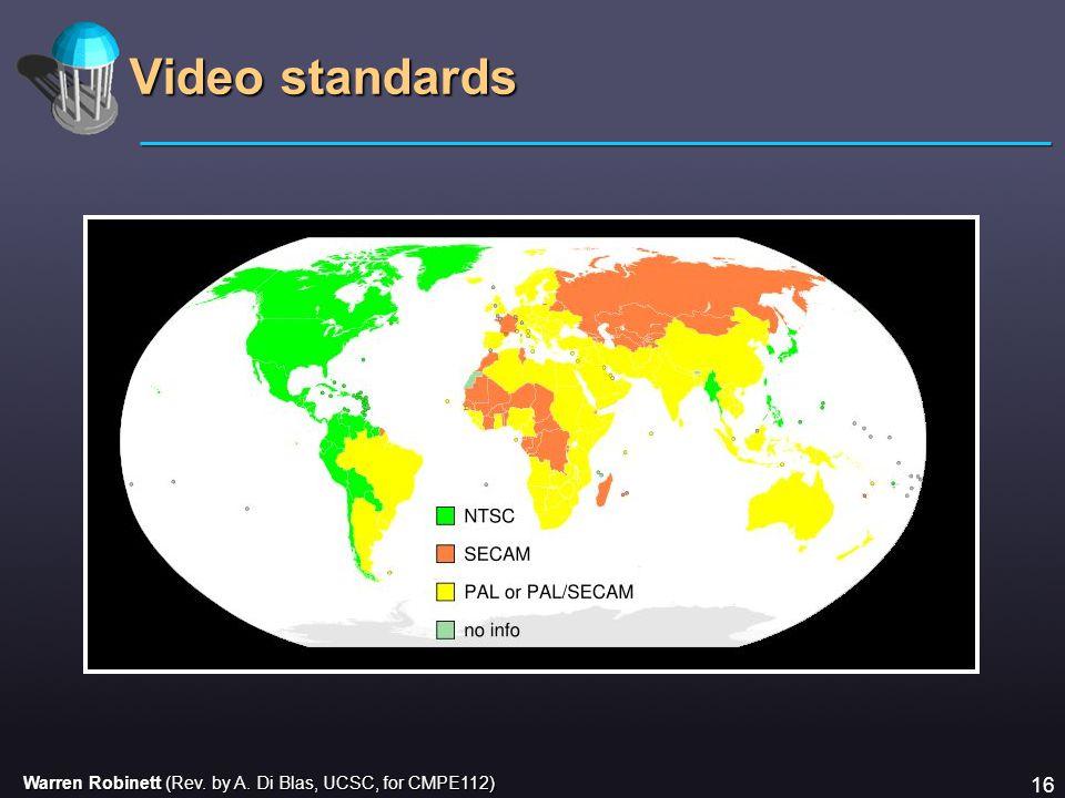 Warren Robinett (Rev. by A. Di Blas, UCSC, for CMPE112) 16 Video standards