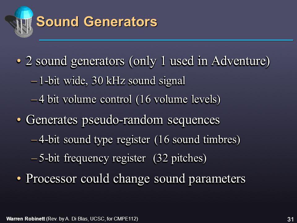 Warren Robinett (Rev. by A. Di Blas, UCSC, for CMPE112) 31 Sound Generators 2 sound generators (only 1 used in Adventure)2 sound generators (only 1 us