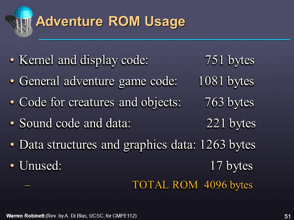 Warren Robinett (Rev. by A. Di Blas, UCSC, for CMPE112) 51 Adventure ROM Usage Kernel and display code: 751 bytesKernel and display code: 751 bytes Ge