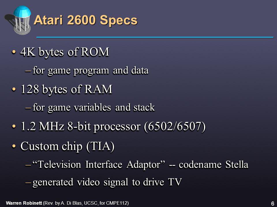 Warren Robinett (Rev. by A. Di Blas, UCSC, for CMPE112) 6 Atari 2600 Specs 4K bytes of ROM4K bytes of ROM –for game program and data 128 bytes of RAM1