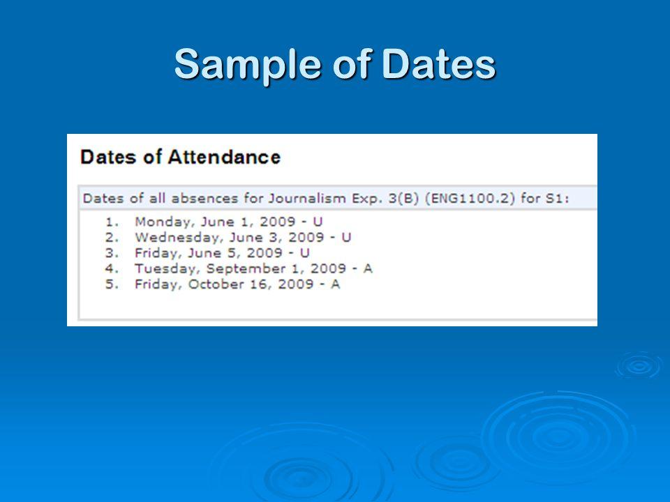 Sample of Dates