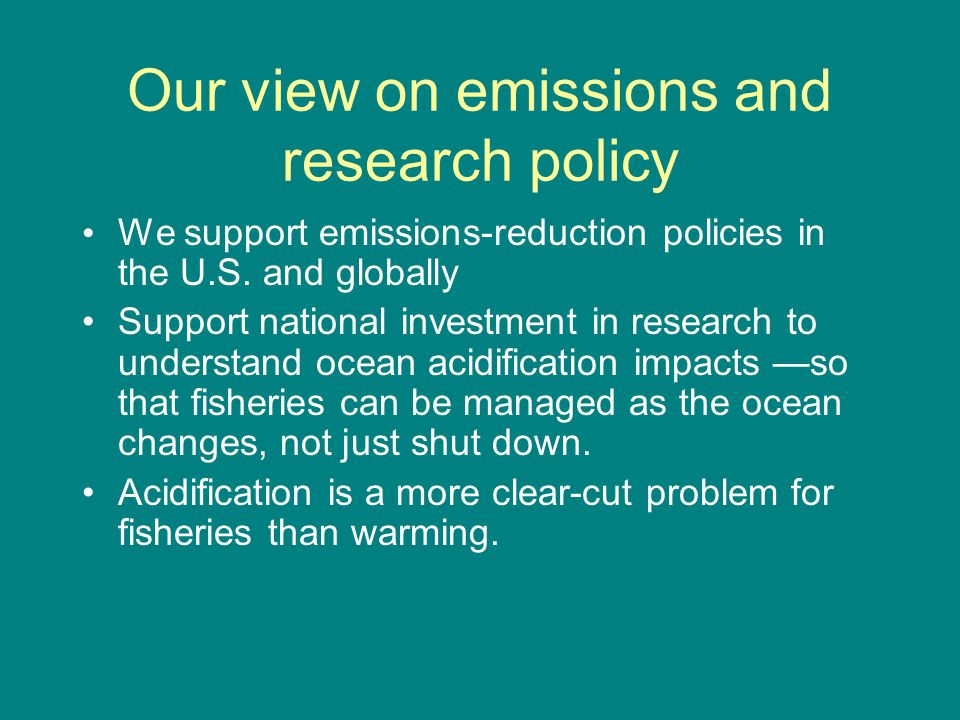 Initial impacts of acidification for industry A new source of uncertainty: - in fishery productivity; - in financial planning.