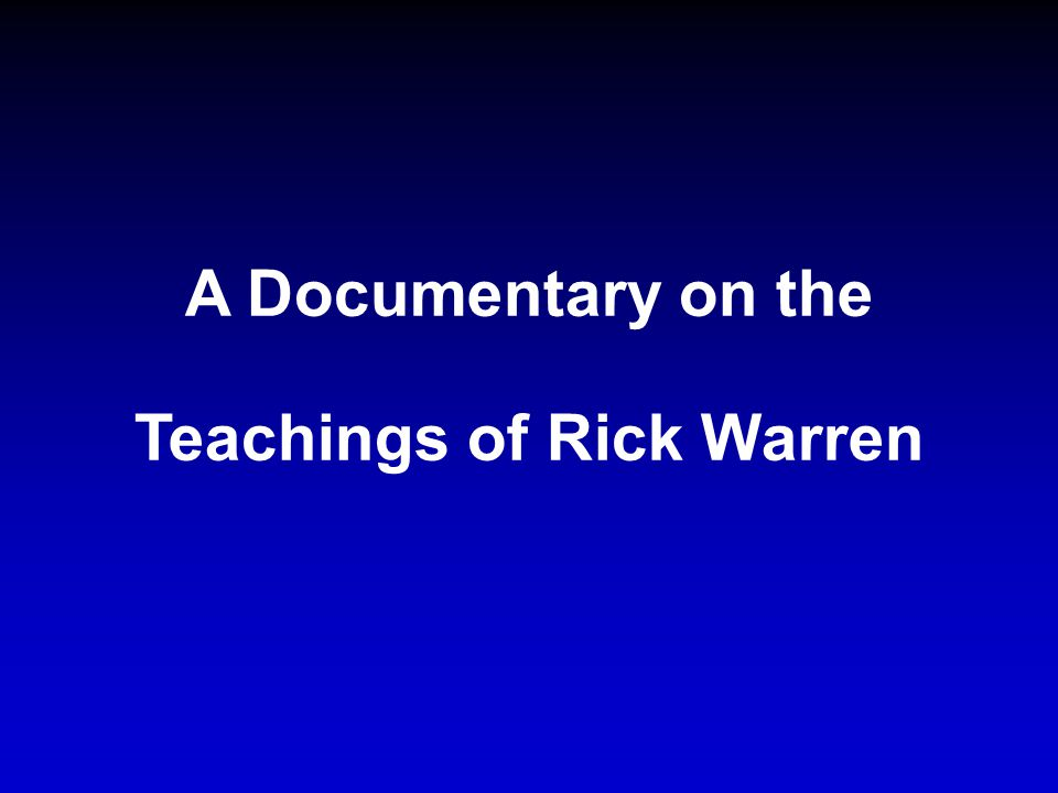 Rick Warren s meaning of the term WHENEVER could be the most glaring error in his entire book.