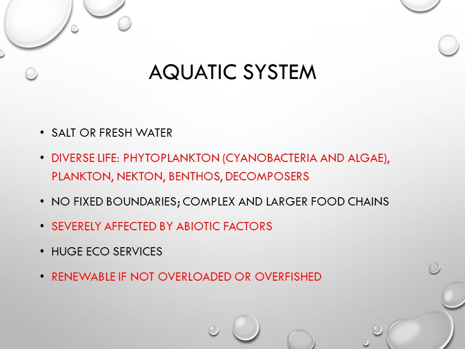 AQUATIC SYSTEM SALT OR FRESH WATER DIVERSE LIFE: PHYTOPLANKTON (CYANOBACTERIA AND ALGAE), PLANKTON, NEKTON, BENTHOS, DECOMPOSERS NO FIXED BOUNDARIES; COMPLEX AND LARGER FOOD CHAINS SEVERELY AFFECTED BY ABIOTIC FACTORS HUGE ECO SERVICES RENEWABLE IF NOT OVERLOADED OR OVERFISHED