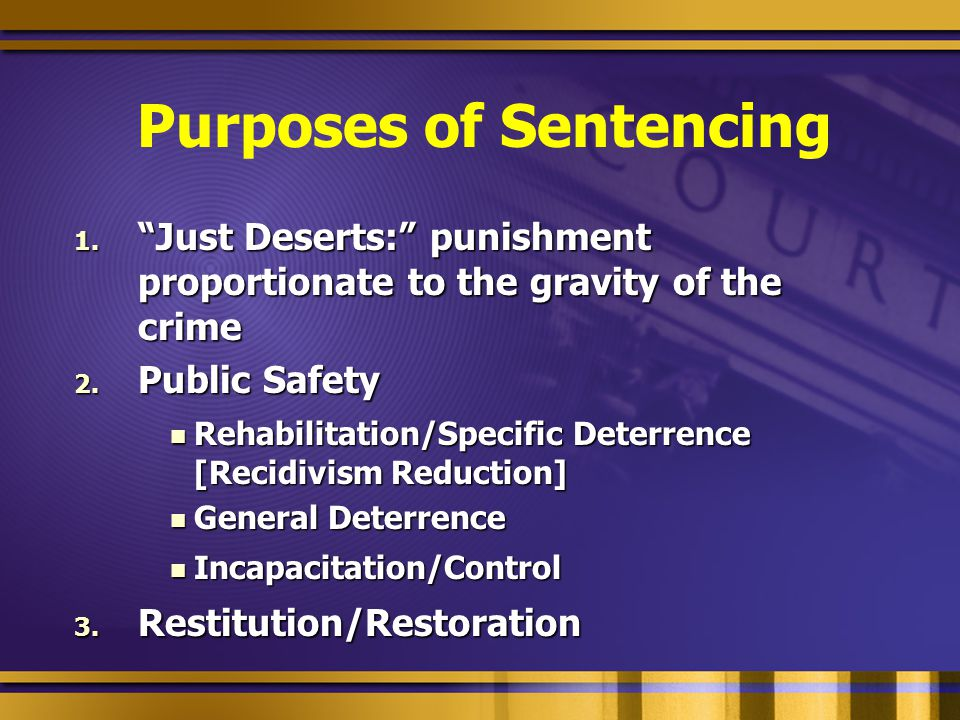"Purposes of Sentencing 1. ""Just Deserts:"" punishment proportionate to the gravity of the crime 2. Public Safety Rehabilitation/Specific Deterrence [Re"