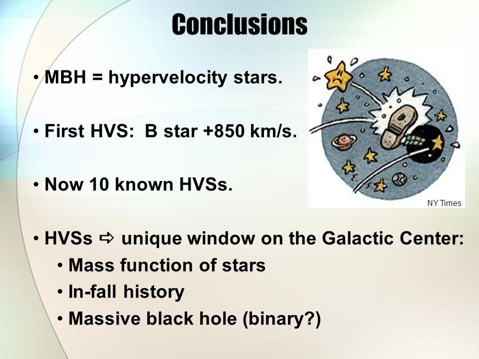 Conclusions MBH = hypervelocity stars. First HVS: B star +850 km/s.