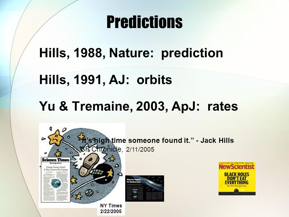 Predictions Hills, 1988, Nature: prediction Hills, 1991, AJ: orbits Yu & Tremaine, 2003, ApJ: rates NY Times 2/22/2005 It's high time someone found it. - Jack Hills SF Chronicle, 2/11/2005