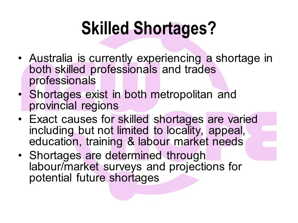 Skilled Shortages.