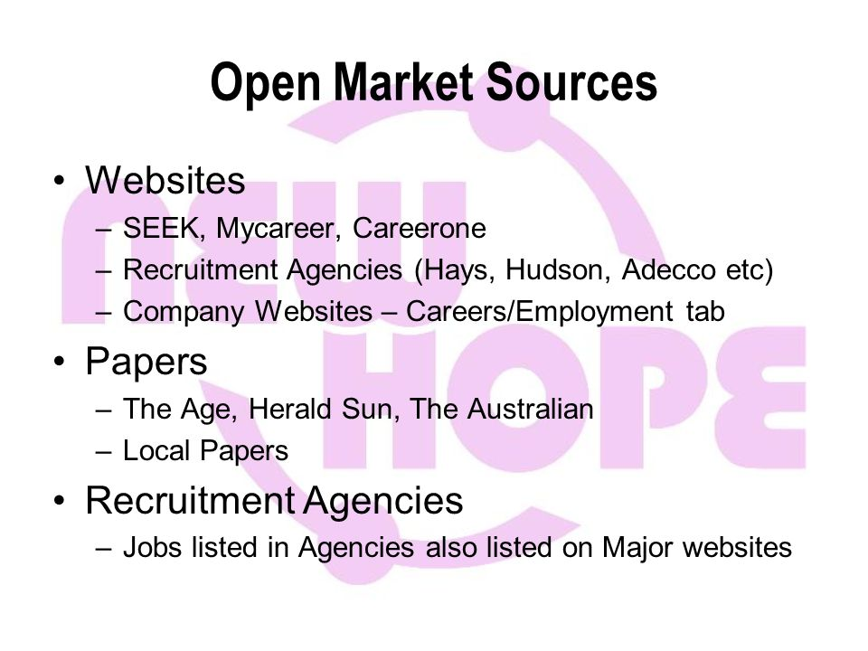 Open Market Sources Websites –SEEK, Mycareer, Careerone –Recruitment Agencies (Hays, Hudson, Adecco etc) –Company Websites – Careers/Employment tab Papers –The Age, Herald Sun, The Australian –Local Papers Recruitment Agencies –Jobs listed in Agencies also listed on Major websites