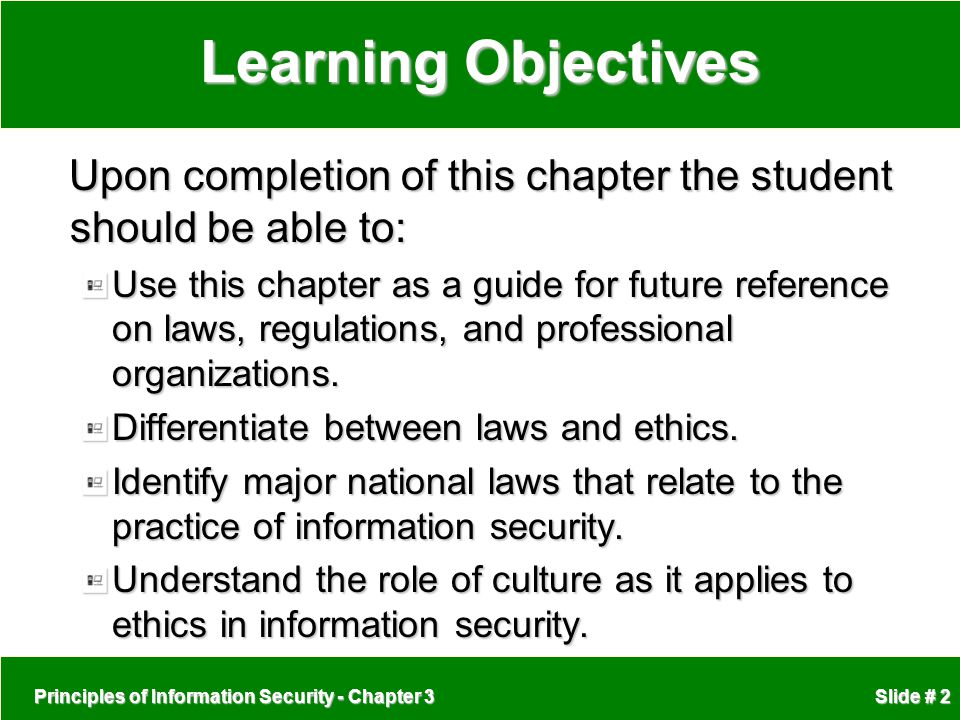 Principles of Information Security - Chapter 3 Slide # 2 Learning Objectives Upon completion of this chapter the student should be able to: Upon compl
