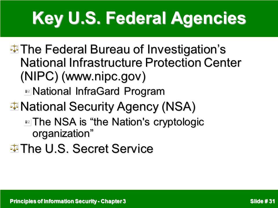 Principles of Information Security - Chapter 3 Slide # 31 Key U.S.