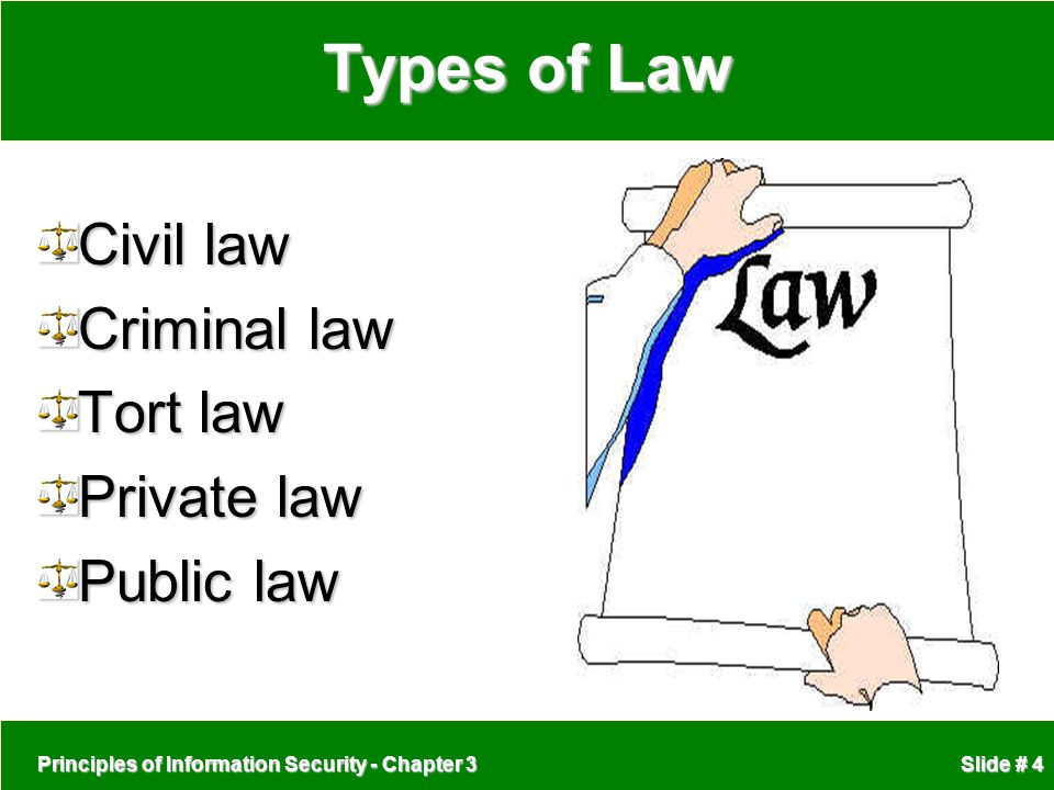 Principles of Information Security - Chapter 3 Slide # 4 Types of Law Civil law Criminal law Tort law Private law Public law