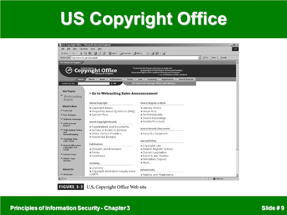 Principles of Information Security - Chapter 3 Slide # 9 US Copyright Office