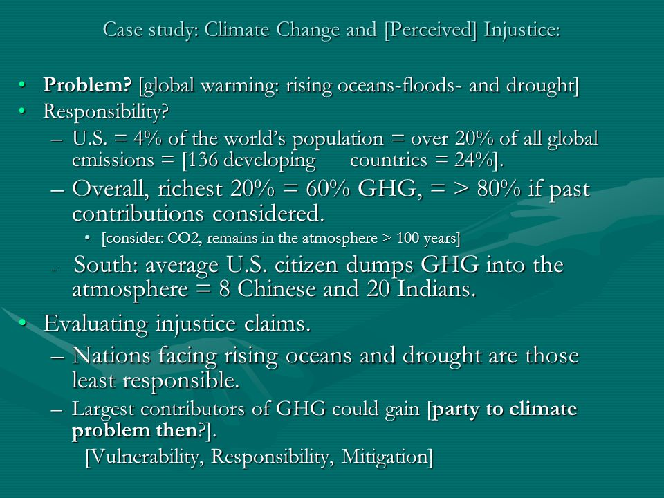 Case study: Climate Change and [Perceived] Injustice: Problem.