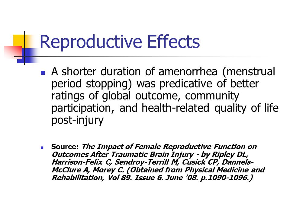 Reproductive Effects A shorter duration of amenorrhea (menstrual period stopping) was predicative of better ratings of global outcome, community participation, and health-related quality of life post-injury Source: The Impact of Female Reproductive Function on Outcomes After Traumatic Brain Injury - by Ripley DL, Harrison-Felix C, Sendroy-Terrill M, Cusick CP, Dannels- McClure A, Morey C.