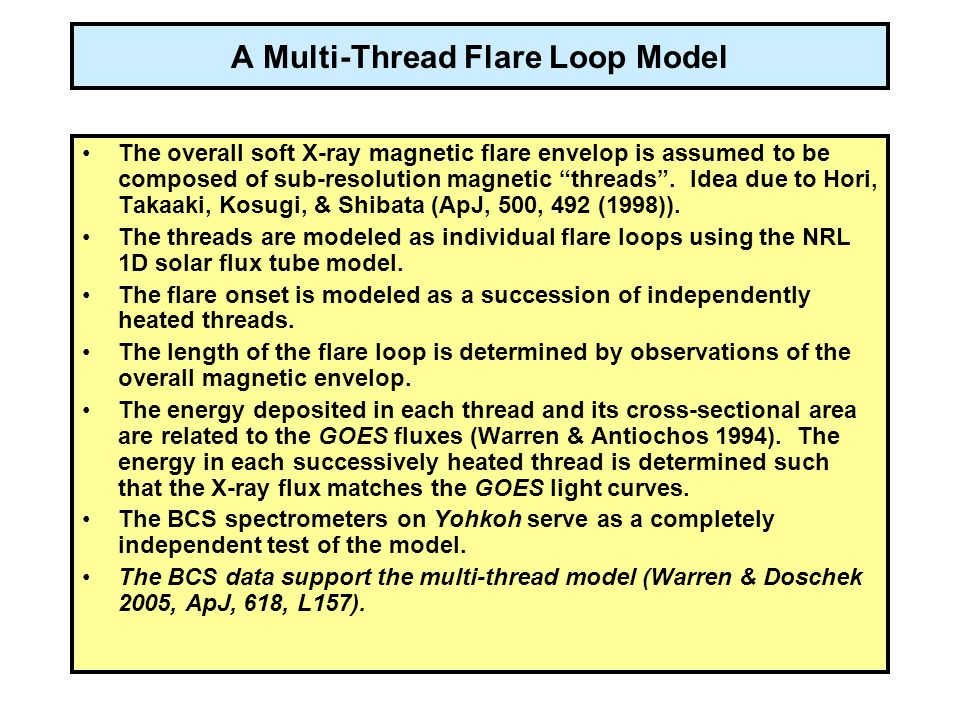 A Multi-Thread Flare Loop Model The overall soft X-ray magnetic flare envelop is assumed to be composed of sub-resolution magnetic threads .
