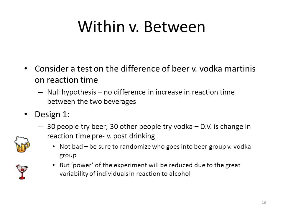 19 Within v. Between Consider a test on the difference of beer v.