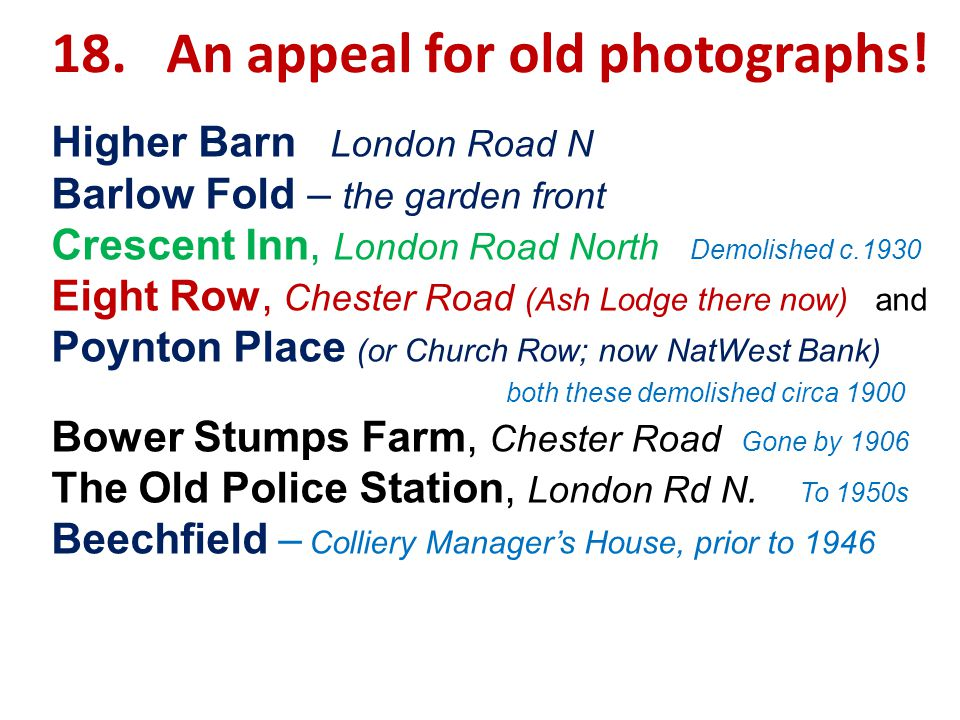 18. An appeal for old photographs.