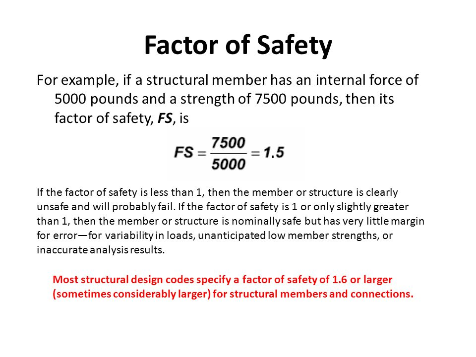 Factor of Safety For example, if a structural member has an internal force of 5000 pounds and a strength of 7500 pounds, then its factor of safety, FS