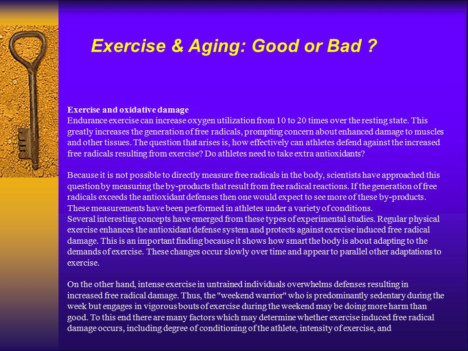 Exercise and oxidative damage Endurance exercise can increase oxygen utilization from 10 to 20 times over the resting state. This greatly increases th