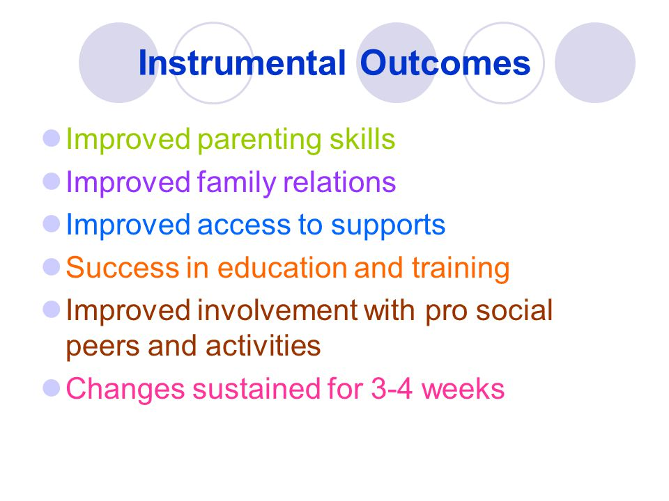 Instrumental Outcomes Improved parenting skills Improved family relations Improved access to supports Success in education and training Improved invol