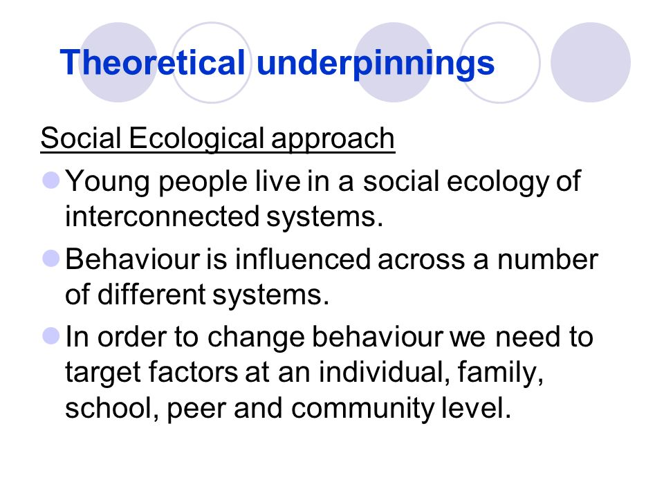 Theoretical underpinnings Social Ecological approach Young people live in a social ecology of interconnected systems. Behaviour is influenced across a