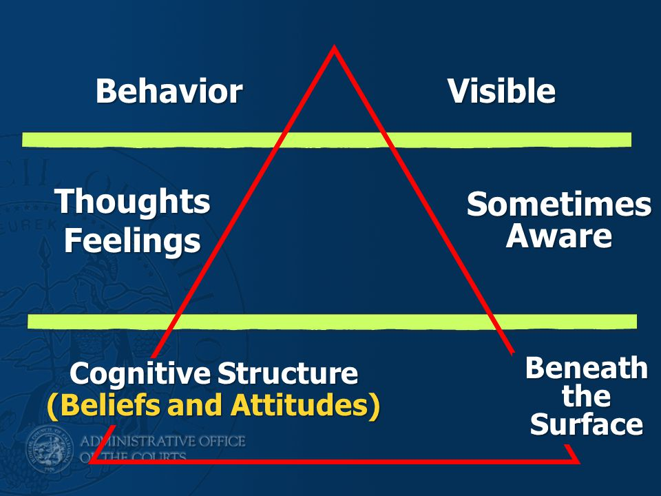 Sometimes Aware BehaviorVisible Thoughts Feelings Cognitive Structure (Beliefs and Attitudes) Beneath the Surface